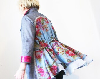 upcycled jacket M - L upcycled clothing, sustainable fashion,  day coat . you had me at blue