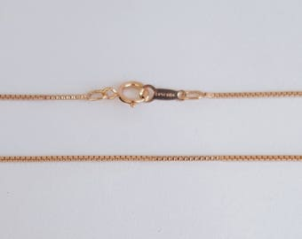 Rose Gold Filled Chain, Box Chain, 14K Rose Gold Filled, Finished Chain, 16 inch, 0.8mm, Fast Shipping from USA