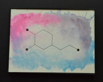 Biolojewelry - Watercolor Framed Dopamine Neurotransmitter Painting