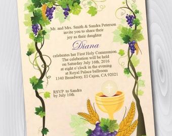 Printable First Holy Communion Invitation/E-Card/First Holy Communion - Instant Download - Template - Confirmation Invitation/Announcement