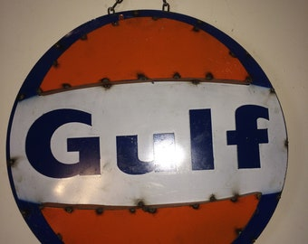 Recycled Metal Gulf Gas Station Wall Decor / Sign 3D Art - Last One!!!