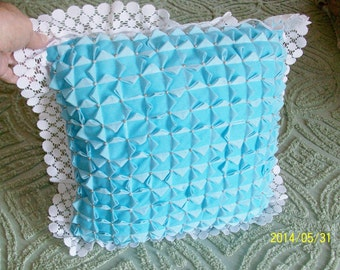 Smocked Gingham Pillow in Turquoise | Lace and Pearl Trimmed Gingham Smocked Pillow