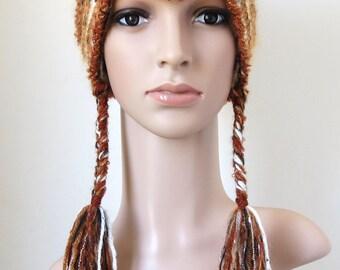 Fox Hat, Adult Animal Hat, Fuzzy Winter Hat, Alpaca Beanie, Mohair Earflap Hat, Vixen, Fox Ear Beanie Orange Brown