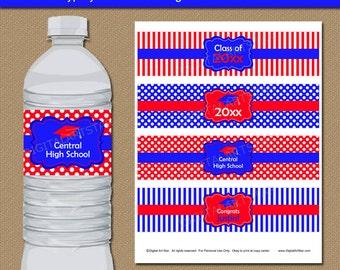 Instant Download Graduation Printable Water Bottle Label, Senior Graduation Party Decorations, Graduation Party Favors Royal Blue and Red G4