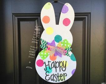 Sparkling Easter Bunny Door Hanger, Easter Bunny, Easter Monogram, Wooden Bunnies, Wooden Rabbits, Easter Decor, Wooden Monogram