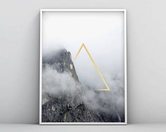 Gold Triangle Printable, Geometric Mountain Print, Gold Triangle Wall Art, Geometric Landscape Print, Abstract Geometric Printable Misty Fog
