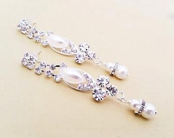 Pearl Rhinestone Earrings, Bridal Drop Earrings, Pearl Crystal Earrings, Wedding Jewelry Art Deco, Bridal Jewelry Vintage,  Dangle Long TARA