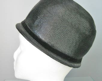 Black Panama Cap / Vtg 60s / XS Black Cap with velvet ribbon / Black Panama Hat