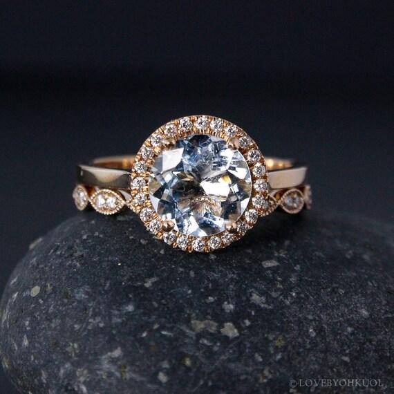 Rose Gold Aquamarine Ring Milgrain Leaf Band Non-Diamond