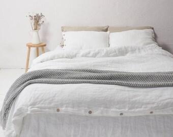 LINEN DUVET COVER - queen size white linen duvet cover, king size white duvet cover.