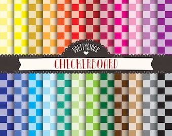 Tinted Checkerboard Digital Papers, Tinted Checkerboard Backgrounds, Checkerboard Scrapbooking Digital Papers - Instant Download // PS107