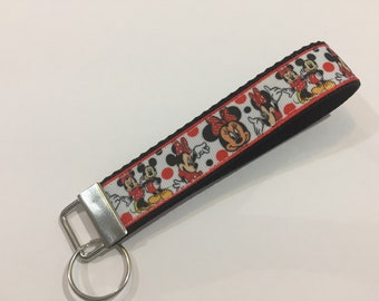 Minnie and Mickey Mouse in Red Key Fob Keychain wristlet