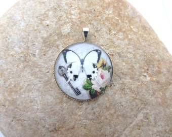 One butterfly pendant glass cabochon