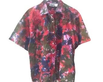 Beaded Vintage Blouse, 90s Batik Blouse, Tie Dye Blouse, Short Sleeve Blouse, Beaded Blouse, Boho 90s Blouse, Colorful Vintage Shirt, M L XL