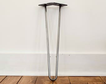 "The Classic Hairpin Leg 2-Rod 4"" - 32"" Raw Steel Metal Table Legs"
