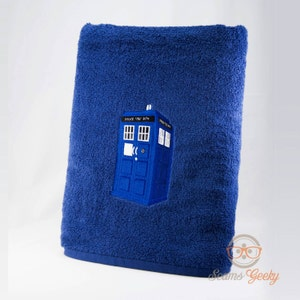 Doctor Who Bath Towel   TARDIS   Embroidered Sci Fi Bathroom Decor