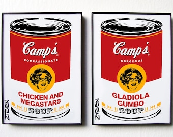Dame Edna Pop Art Soup Cans, framed original art set by Zteven