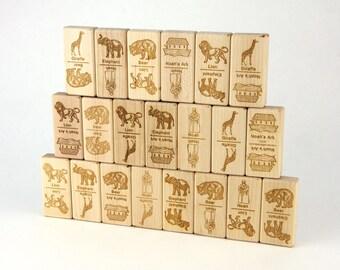 Noah's Ark Dominoes 21 pc Maple Blocks