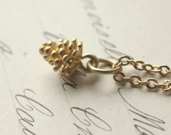 Gold Pine Cone necklace, Tiny gold pinecone necklace, little pinecone plated gold fircone dainty pine cone pick your length of CHAIN N222