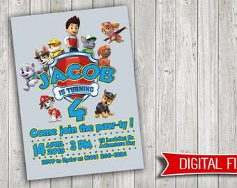 Paw Patrol Birthday Invitation - personalized DIGITAL FILE - no physical copy