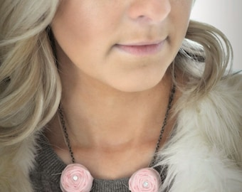Light Pink Rosette Necklace