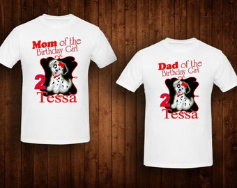 family shirts Dalmation birthday theme mom of the birthday girl dad of the birthday girl