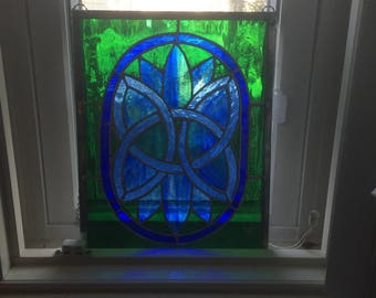 Celtic design in blue and green