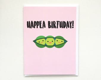 Peas in a Pod Birthday Card - A2 Handmade Card, Punny Vegetable Pea Pods Card with foiled lettering