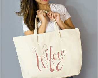 "Copper Wifey Large Zip Tote: 100% Natural Cotton Canvas 22""W x 15""L x 5""D Interior Zippered Pocket- By Alicia Cox/ Ellafly"