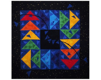 Colorful Abstract Art Quilt, Fabric Wall Hanging, Fiber Art, Traditional Flying Geese Block