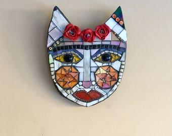 Frida cat, Madonna Cat, Mosaic Cat, cat face, cat wall decor, wall decor, cat mask, Frida, cat, mosaic cat, Animal art, cat mask