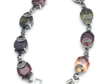 Multi-color Marcasite Statement Bracelet