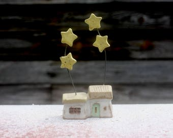 tiny house with four stars, hand carved & stamped stoneware clay, OOAK