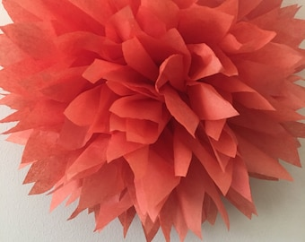 DARK CORAL / 1 tissue paper pom pom / wedding decorations, baby shower, nursery decor, birthday decorations, bridal shower, tea party, diy