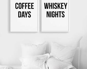 Coffee Days Whiskey Nights ART PRINTS | Typography quote set of two posters Gallery wall | Bundle | Modern Minimalist Home Decor Coffee Art