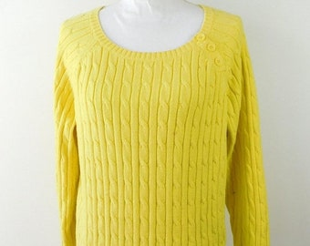 30% SUMMER SALE Vintage 1960s 60s St Johns Bay Bright Yellow Cable Knitted Ribbed Crewneck Long Sleeve Thick Sweater Sz XL Plus Size