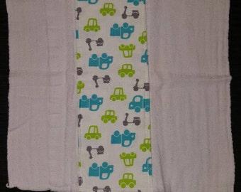Cute cars/trucks custom burp cloth