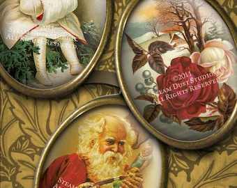 Victorian Christmas Digital Collage Sheet - 18x25mm Ovals - Glass and Resin Art Images - Instant Download & Print