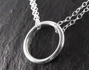 Circle Necklace, Circle Necklace SIlver, Simple Necklace, ORBIT NECKLACE.