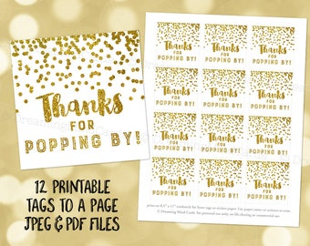 Printable Thank You for Popping By Favor Tags Gold Glitter Confetti for Baby Shower Popcorn Birthday Instant Digital Download