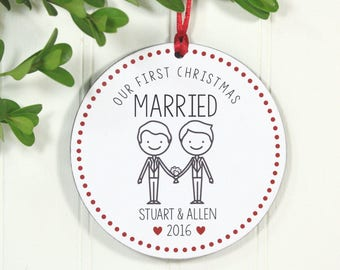 Gay Wedding Gift, Gay Marriage Ornament,  Same Sex Wedding Gift, Mr and Mr Ornament,  Our First Christmas Married Mr and Mr