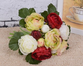 Table Centerpiece Floral,  Red, White, Green Camellia, Artificial Stem Flowers (1 Set)