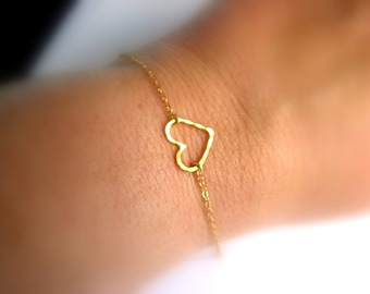 Dainty Heart Bracelet - 14K Gold Filled bracelet with Vermeil Heart - wedding bracelet - bridesmaid bracelet -gift for her under 25 usd