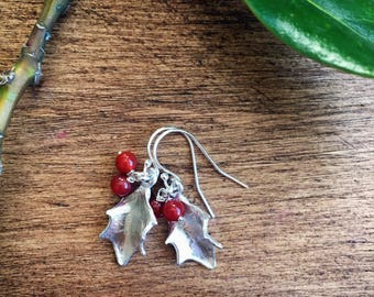 Sterling silver holly leaf earrings with red carnelian berries
