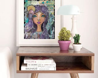 Whimsical Fine Art Print with Positive Affirmations to Inspire the Woman or Girl in Your Life