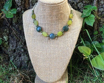 Forest Green - Woodland bead and charm necklace with silver chain and toggle clasp