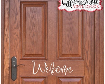 Welcome Front Door Vinyl Lettering Decal Sticker   design1