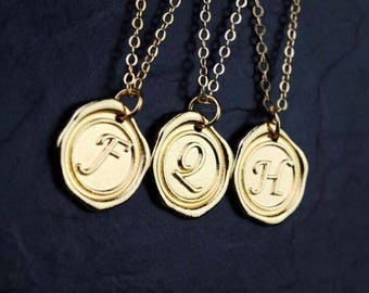 personalized wax seal initial necklace dainty delicate gold monogram necklace bridesmaid necklace
