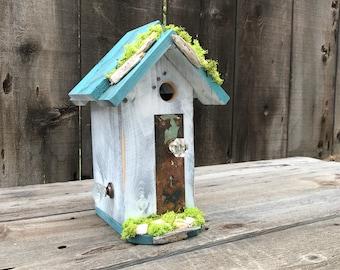 Birdhouses Handmade Wood Bird House with Mosaic Tile Stone, Antique Door Plate & Glass Doorknob, Garden Birds Nest Box, Item #614041163