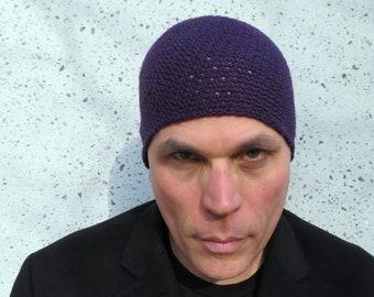 men's summer beanie/ plum purple linen cotton crochet